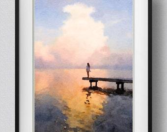 Watercolor Sunset Painting Wall Art Print Ocean Sunset Ocean Bedroom Decor  Gift Pic No 38