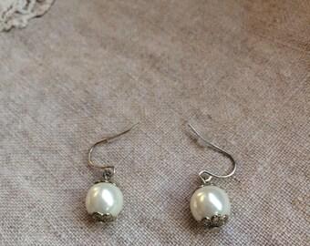 Small Dangle Pearl Earrings