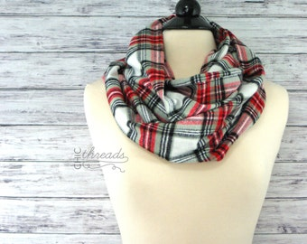 Infinity Scarf- Plaid Infinity Scarf- Tartan Plaid Scarf- Gift Idea for Her- Circle Scarf- Infinity Scarf Flannel-  Loop Scarf