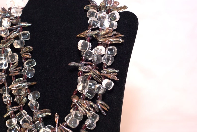 Garnets /& Tahitian Pearls in 3 Strands with Sterling Silver Clasp Clear Quartz