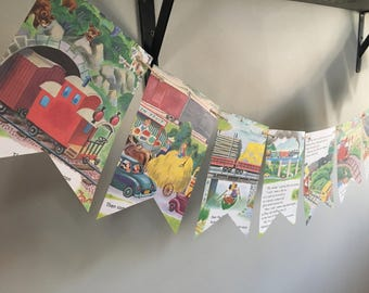 The LITTLE RED CABOOSE book page banner bunting garland decoration train