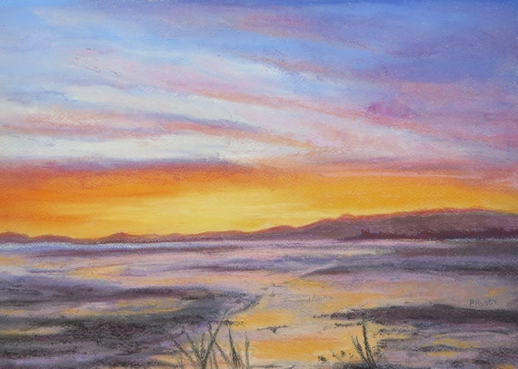 Angus Original Pastel Painting by Pamela Ruddy Towards Elliot Water Scottish Coastal Landscape Beach near Arbroath