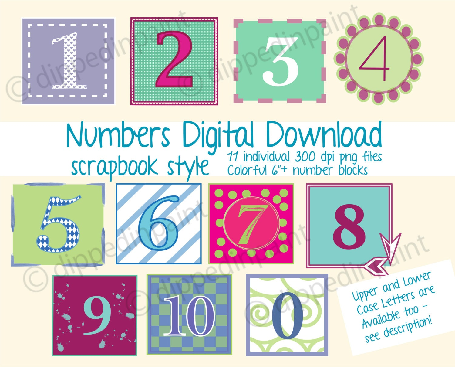 PNG Numbers 6 inch Baby Block Digital 6 Inch Colorful | Etsy
