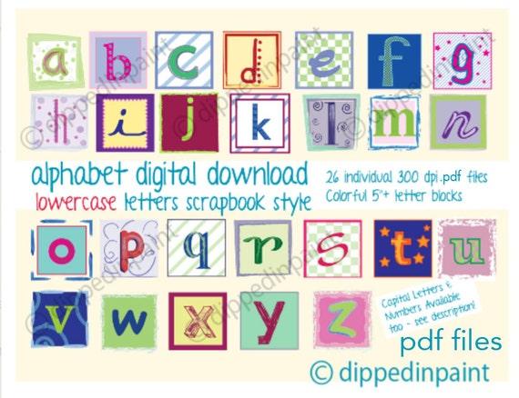 Baby Block Letters Digital Alphabet 5 3 Letters Etsy