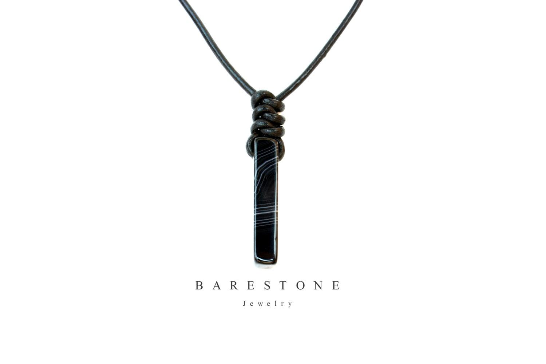 Herren Edelstein Onyx Anhänger Halskette verstellbar schwarz | Etsy