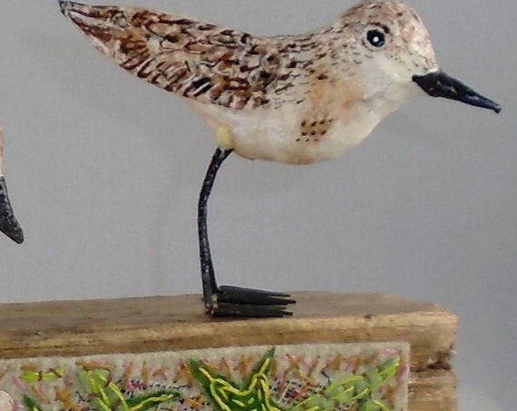Sanderlings on Driftwood with hand-embroidered applique panel