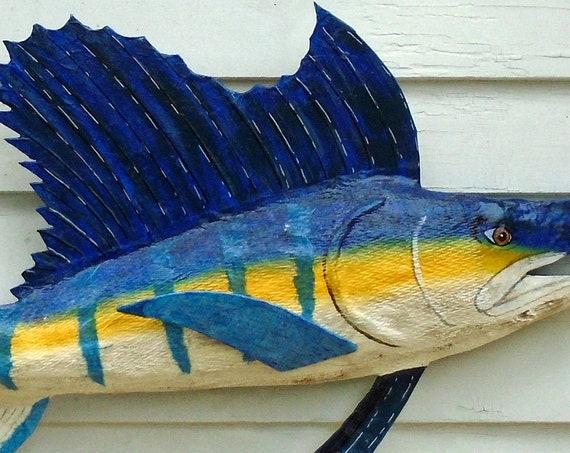 Folk Art Driftwood and Paper sculpture Marlin (48 inches)