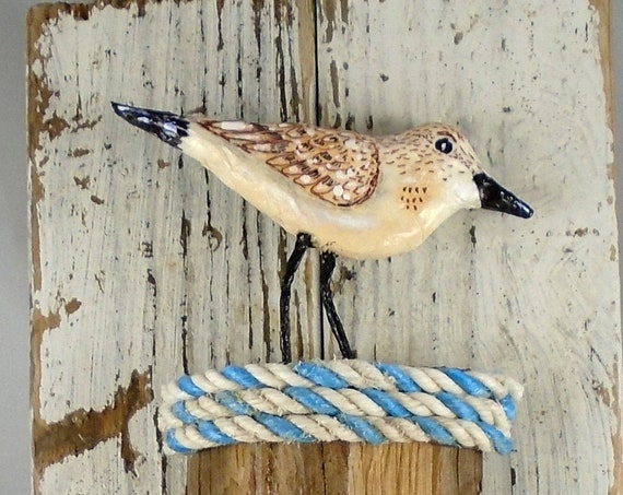 Driftwood Assemblage - 3 Sanderlings and fish