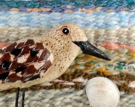 Driftwood Sandpiper Tapestry on driftwood (wall art)