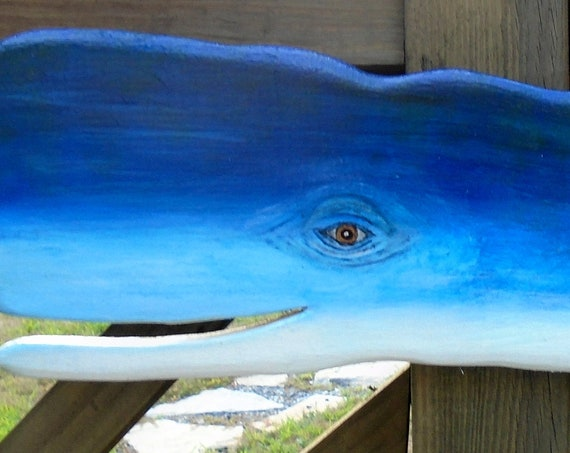 Great blue Whale! Folk Art Recycled wood 24 inches