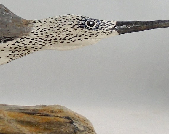 Rustic folk art driftwood shorebird - mounted on a driftwood base