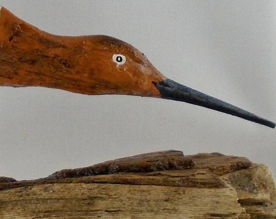 Rustic folk art driftwood shorebird - mounted on a driftwood base