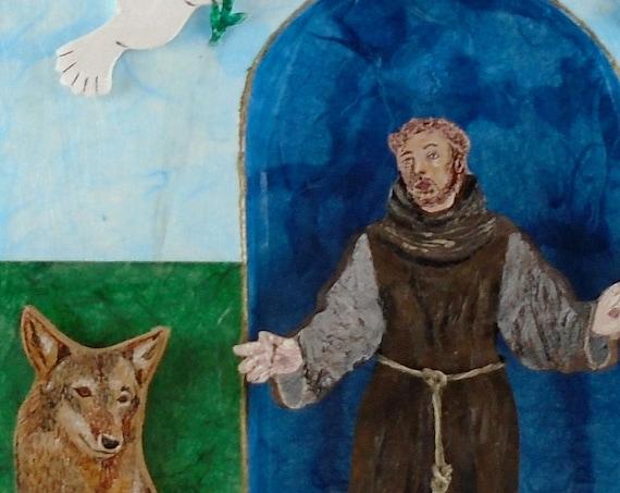 St Francis of Assisi shrine - folk art wood wall hanging