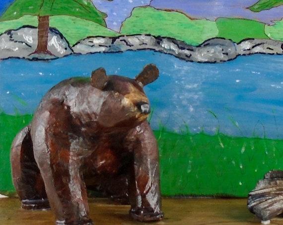 Folk Art bear - wall art