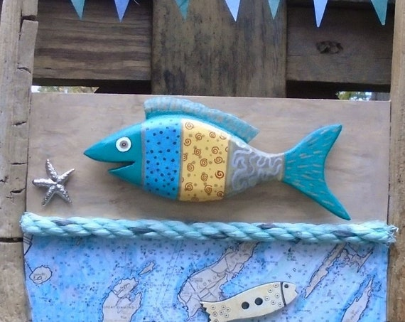 Driftwood Wall Art with Fish and map