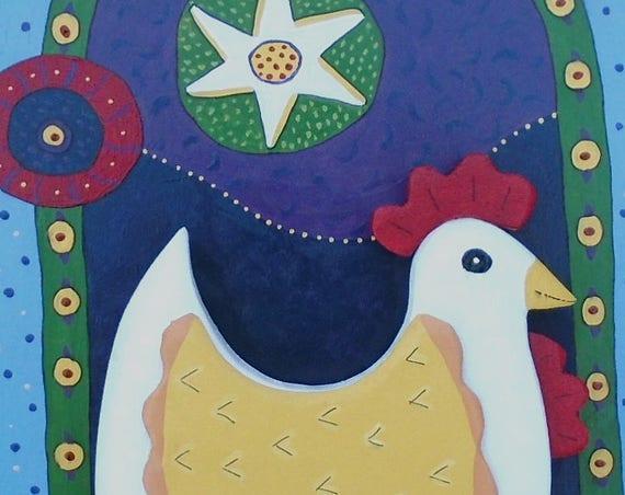 Folk Art Chicken Wall Hanging!