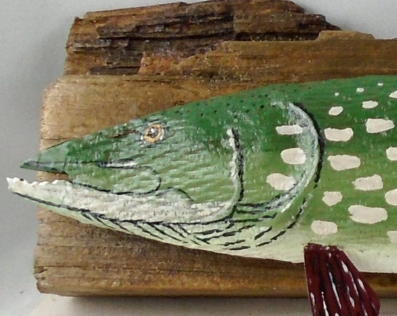 Folk art Northern Pike (on driftwood)