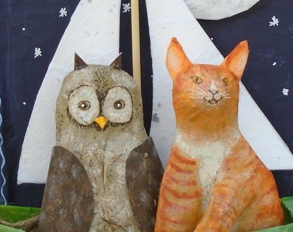 Folk Art Owl and the Pussycat FINISHED