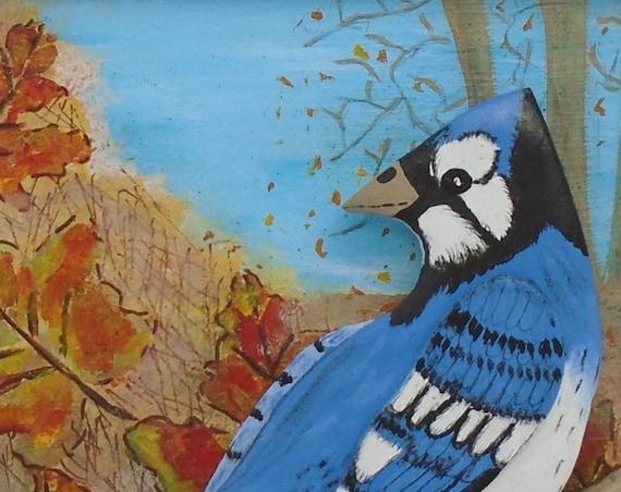 Folk Art Blue Jay Wall Art