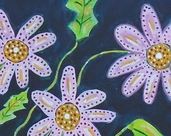 Folk Art Flower Painting 12 x 12 canvas original