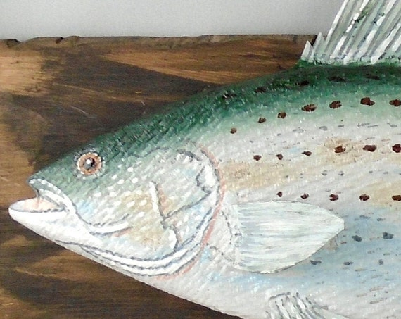 Folk Art Striped Bass on Recycled Wood