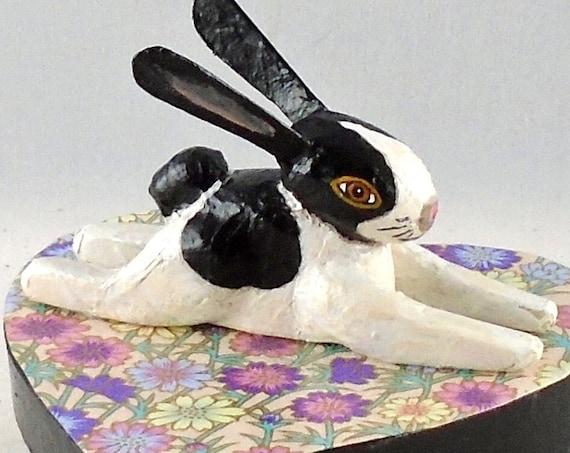 Folk Art Rabbit Heart Box (4 inches)