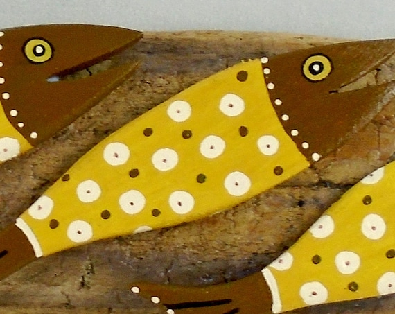 3 happy leaping fish on driftwood (10 inch size)