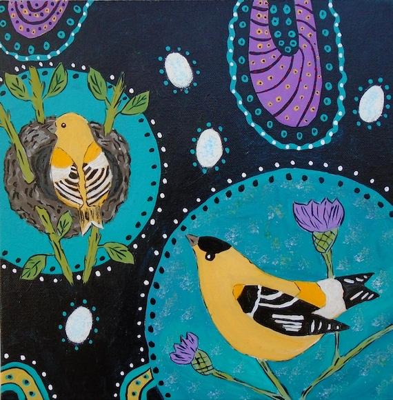 Folk Art Bird Painting 12 x 12 canvas original