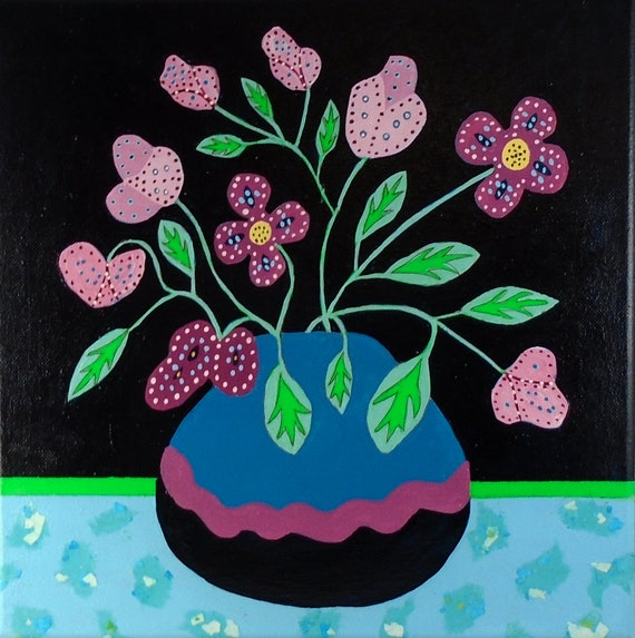 Folk Art Flower Painting 12 x 12 canvas original
