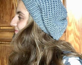 Gray Adult Crochet Beanie
