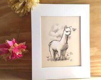 Cute Alpaca - wall print - Girl's Room