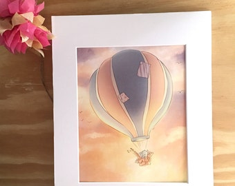 Hot Air Balloon - 8x10 print - Girls room - Nursery