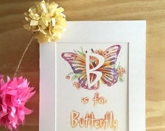 B: Butterfly - Kid's Room - Wall Art