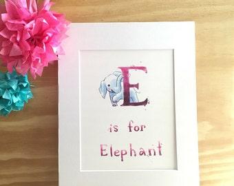 E: Elephant - Kid's Room - Wall Art