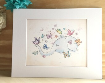 Butterflies and Elephant - wall print - Girl's room