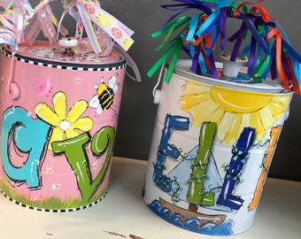 Personalized Easter Basket, Easter Bucket, Easter Paint Can, Gift Basket