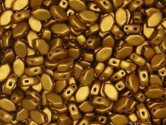 Amos par Puca Bead 2-Hole 5 x 8 mm Dark Gold Bronze 30 count