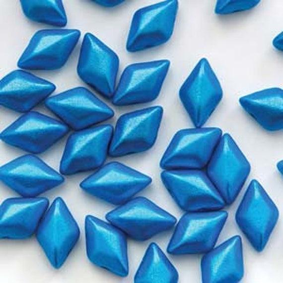 40 8 x 5 mm Czech Glass Gemduo Beads Aqua//Teal Polychrome