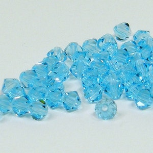 4mm Blue Zircon Celsian RARE Bicone Crystals 144 Pieces Genuine Preciosa Czech Cut Crystals Crystal Celsian Coated Blue Green Crystals