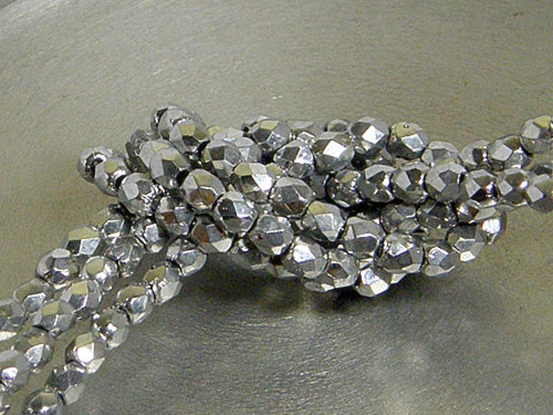 4mm Round Bead, 27000 50 count Fire Polish Silver