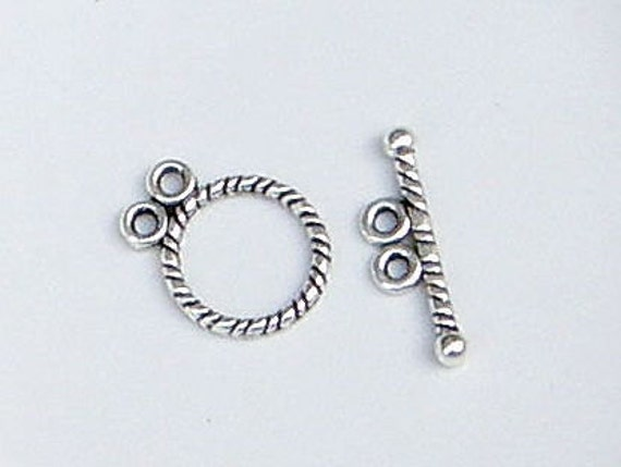 2 LOVELY QUALITY ANTIQUE SILVER TIBETAN STYLE TOGGLE CLASPS