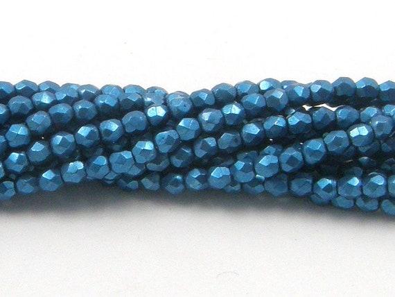 Saturated Metallic Quetzal Green 50 4 mm Czech Glass Fire Polish Beads