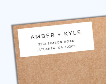 Minimalist Return Address Labels PRINTED | White Matte Address Envelope Labels | Personal Address Labels | Modern Return Mailing Stickers