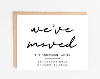 Modern Moving Announcement Card | Change of Address Postcard | We've Moved Cards | New Home Announcement | Personalized New House | Minimal