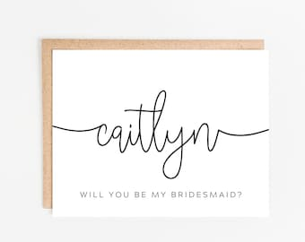 Personalized Bridesmaid Proposal Card / Maid of Honor Card / Matron of Honor Card / Bridesmaid Card / Will You Be My Bridesmaid / Script