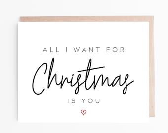 Boyfriend Husband,Wife Girlfriend All I Want For Christmas Is You Card,Fiancé