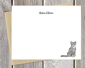 Cat Watercolor Personalized Stationery - Custom -  Just Because Stationary - Greeting Cards - Fun Notecards - Cat Lovers
