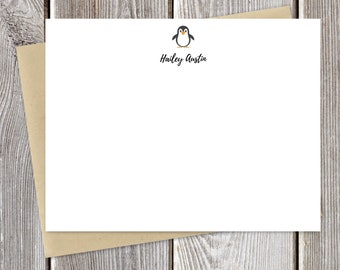 Penguin Personalized Stationery - Custom -  Just Because Stationary - Greeting Cards - Fun Notecards