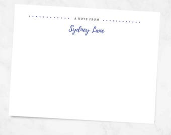 A Note From Personalized Stationery - Custom Color -  Just Because Stationary - Greeting Cards - Dotted