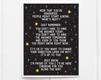 It's OK not to know What's Next // Graduation Card // High School, college, trade school // Humorous Graduation Card